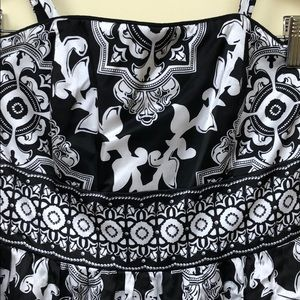 WHBM black and white silk dress